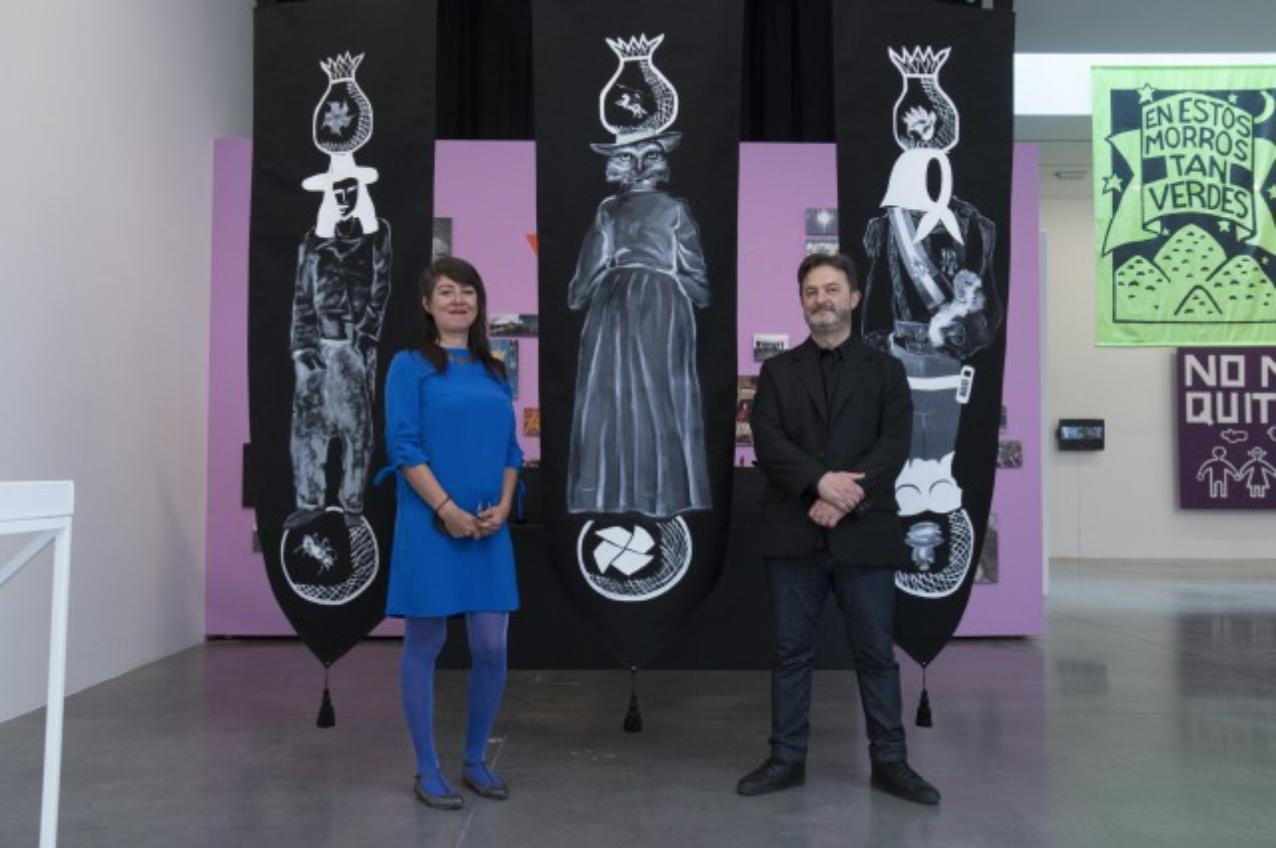 Source: Sandra de la Loza Artist Sandra de la Loza (left) with artist Eduardo Molinari
