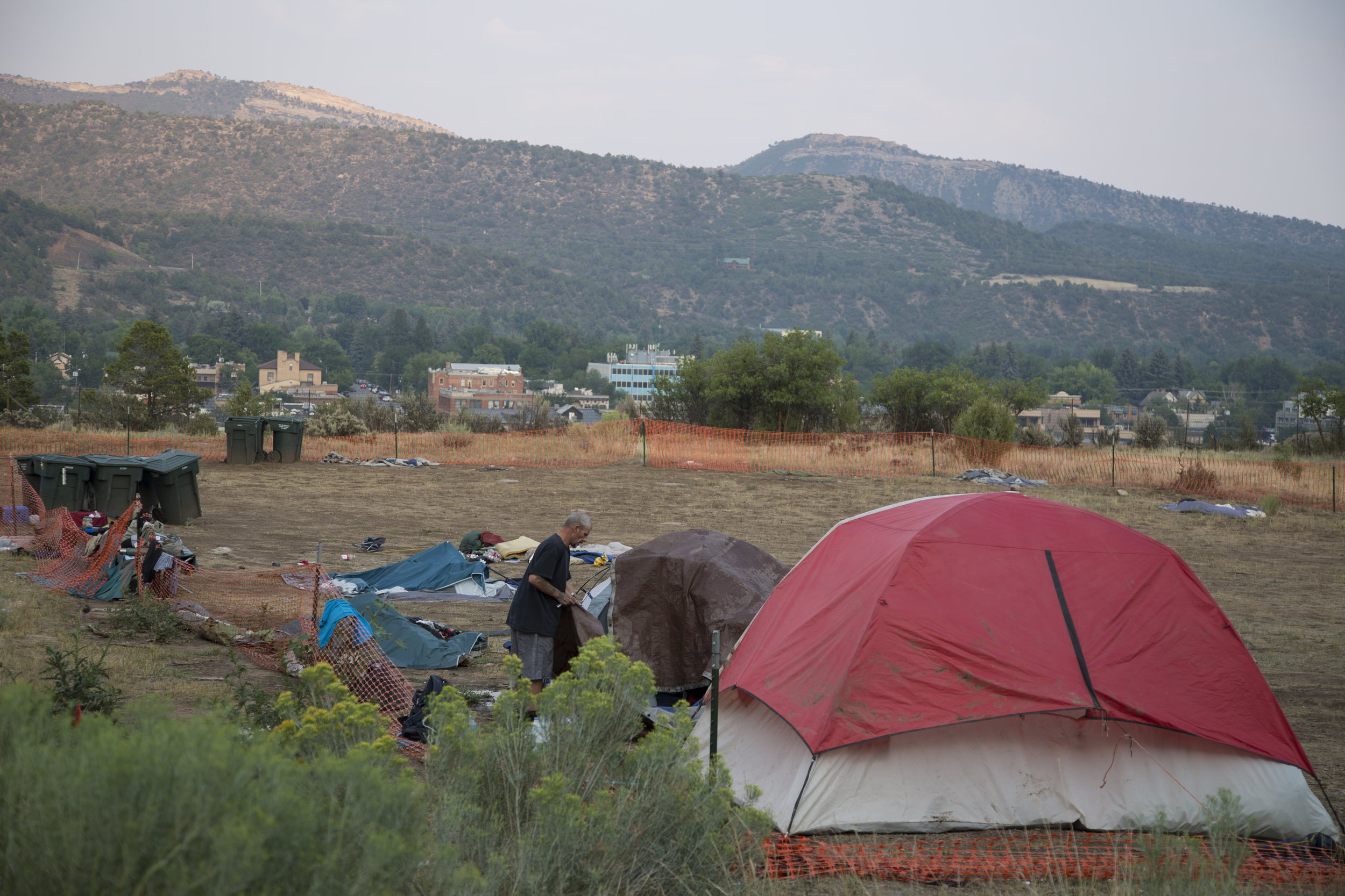 At a city-sanctioned homeless camp in Durango, people were required to pack up their tents and other belongings by 9 a.m. and not return until 6 p.m. The city in late August shut down the camp, sending homeless people scattering, some deep into the San Juan National Forest. (Scott DW Smith, Special to The Colorado Sun)