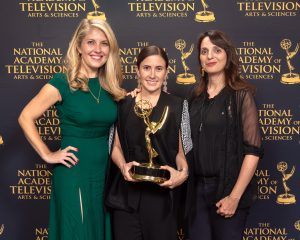 From left Jamie Boyle, Maisie Crow and Alissa Quart at the Emmy Awards. Photo: Marc Bryan-Brown.