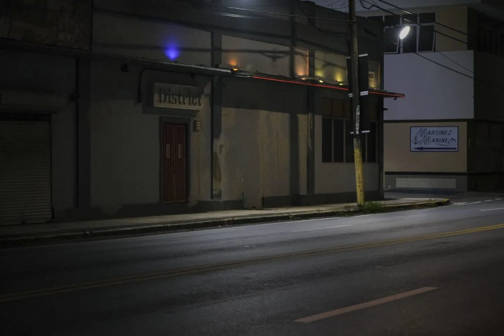 The empty adult entertainment club district in Santurce, Puerto Rico, shut down due to Covid-19 shutdowns and curfew. Photo by Gabriella N. Báez