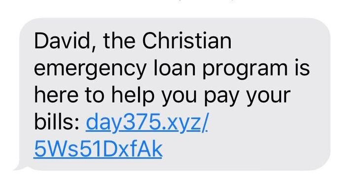 A text that the author received from a payday loan company. Photo courtesy of David Williams