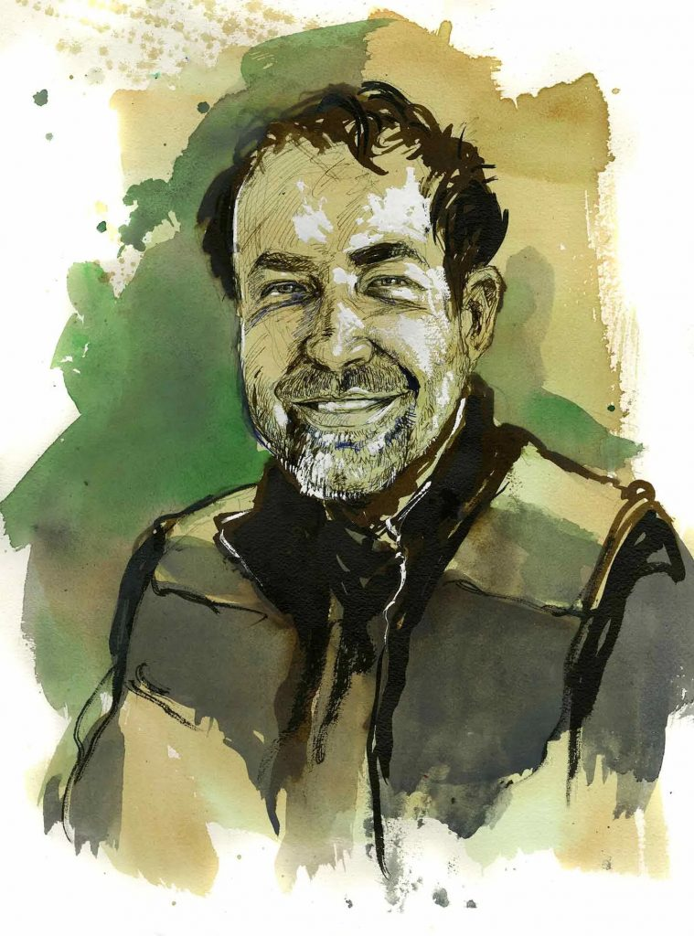 Cezary, delivery worker, Chicago. Illustration by Molly Crabapple