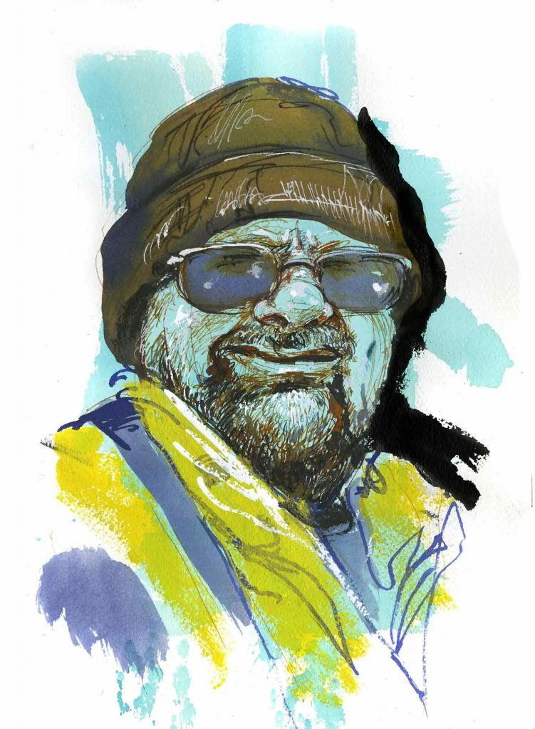 Turtle, sanitation worker, San Jose, California. Illustration by Molly Crabapple