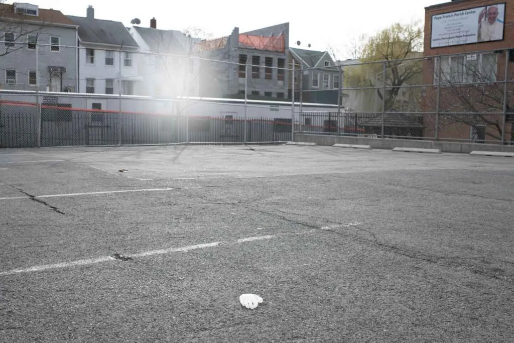 The empty parking lot and schoolyard of my children's school, closed to slow the spread of COVID-19.