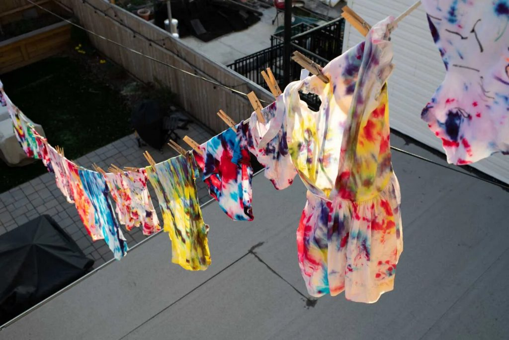 Clothes that we tie dyed.