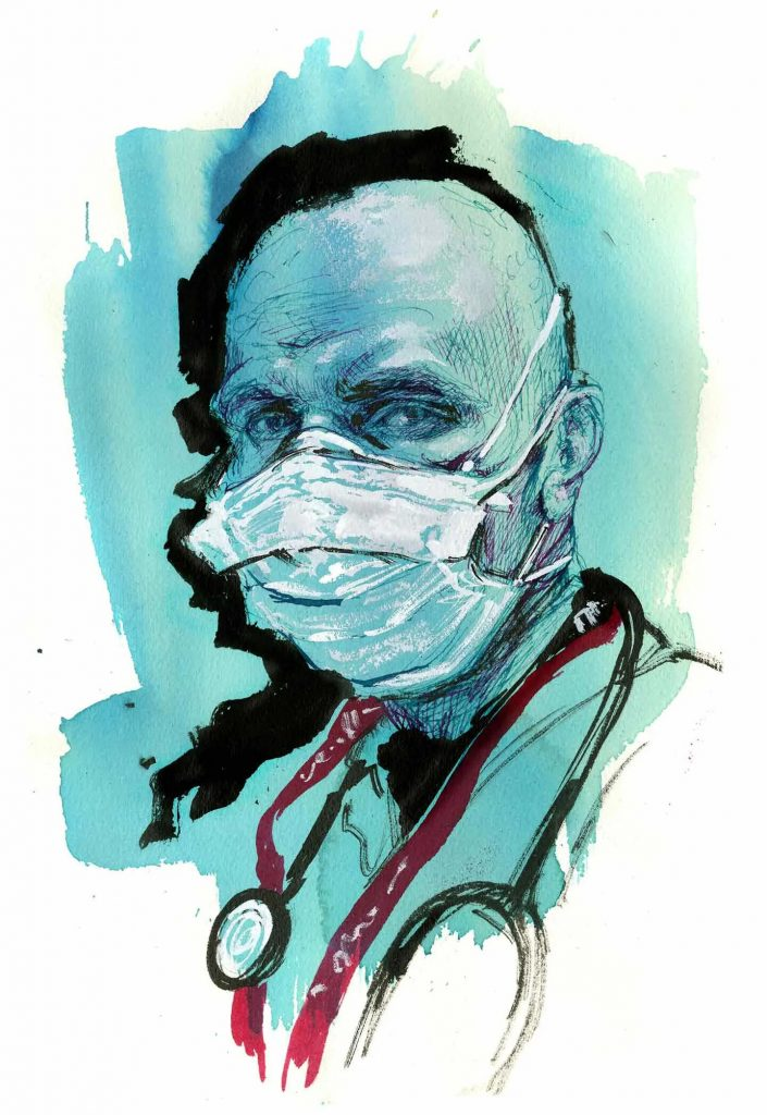 Kanaan El-Daher, emergency room nurse, Rhode Island. Illustration by Molly Crabapple
