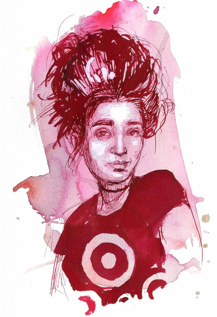 Brittany, Target worker, Massachusetts. Illustration by Molly Crabapple