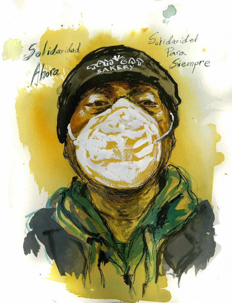 Bulmaro Cruz, truck driver for a specialty food factory, Queens, New York. Illustration by Molly Crabapple