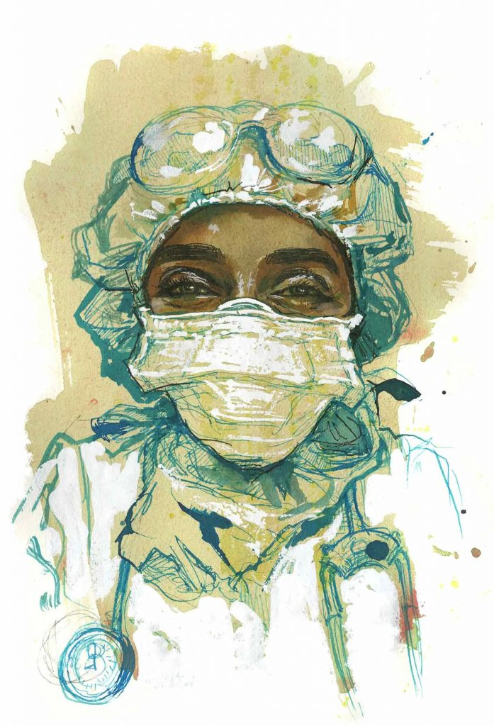 Marwa, doctor treating COVID-19 patients, New York. Illustration by Molly Crabapple