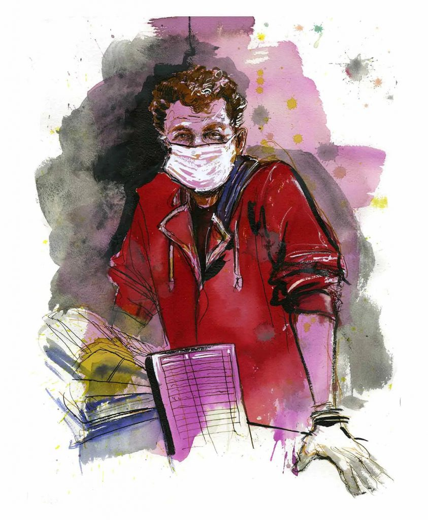 Alex, grocery store worker, New Jersey. Illustration by Molly Crabapple