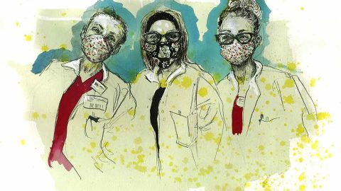 From left, Kegga, Marissa, and Courtney, phlebotomists, New Jersey. Illustration by Molly Crabapple